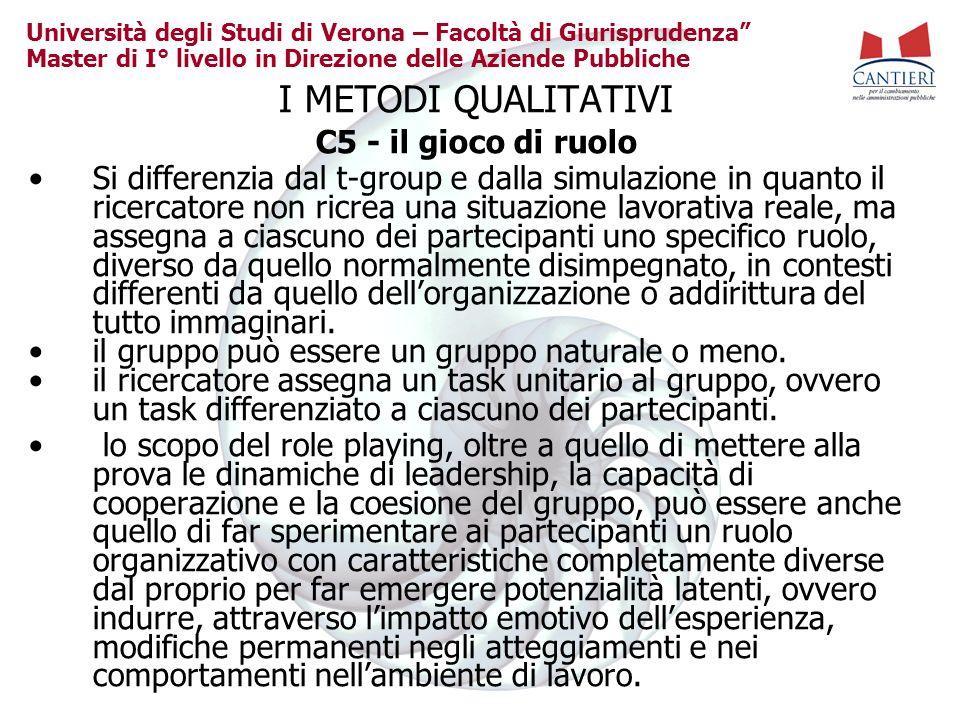 Università degli Studi di Verona – Facoltà di Giurisprudenza Master di I° livello in Direzione delle Aziende Pubbliche I METODI QUALITATIVI C5 - il gi