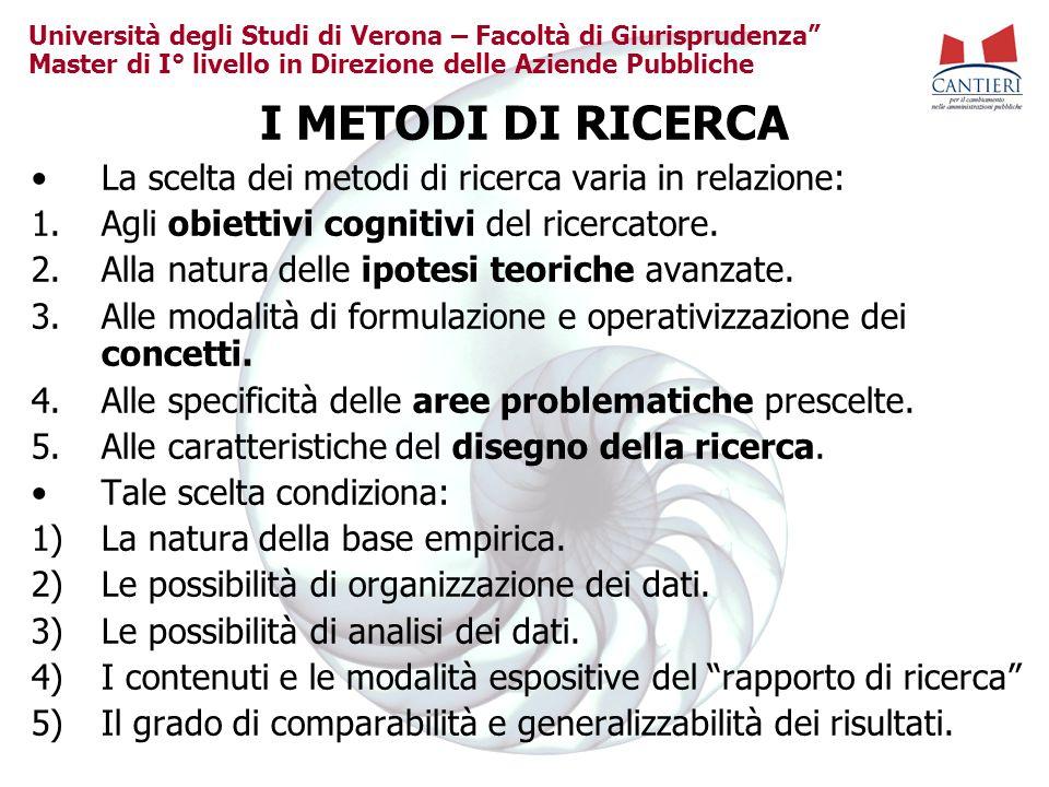 Università degli Studi di Verona – Facoltà di Giurisprudenza Master di I° livello in Direzione delle Aziende Pubbliche I METODI DI RICERCA La scelta dei metodi di ricerca varia in relazione: 1.Agli obiettivi cognitivi del ricercatore.