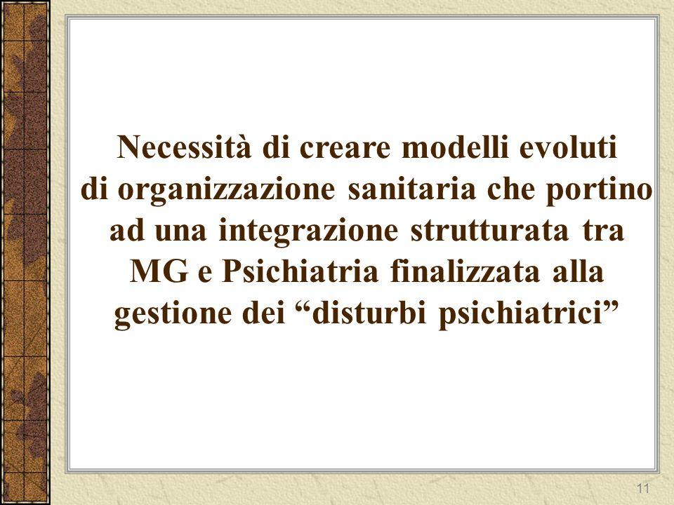 11 Necessità di creare modelli evoluti di organizzazione sanitaria che portino ad una integrazione strutturata tra MG e Psichiatria finalizzata alla gestione dei disturbi psichiatrici