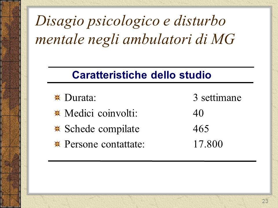 23 Disagio psicologico e disturbo mentale negli ambulatori di MG Durata:3 settimane Medici coinvolti:40 Schede compilate465 Persone contattate:17.800 Caratteristiche dello studio
