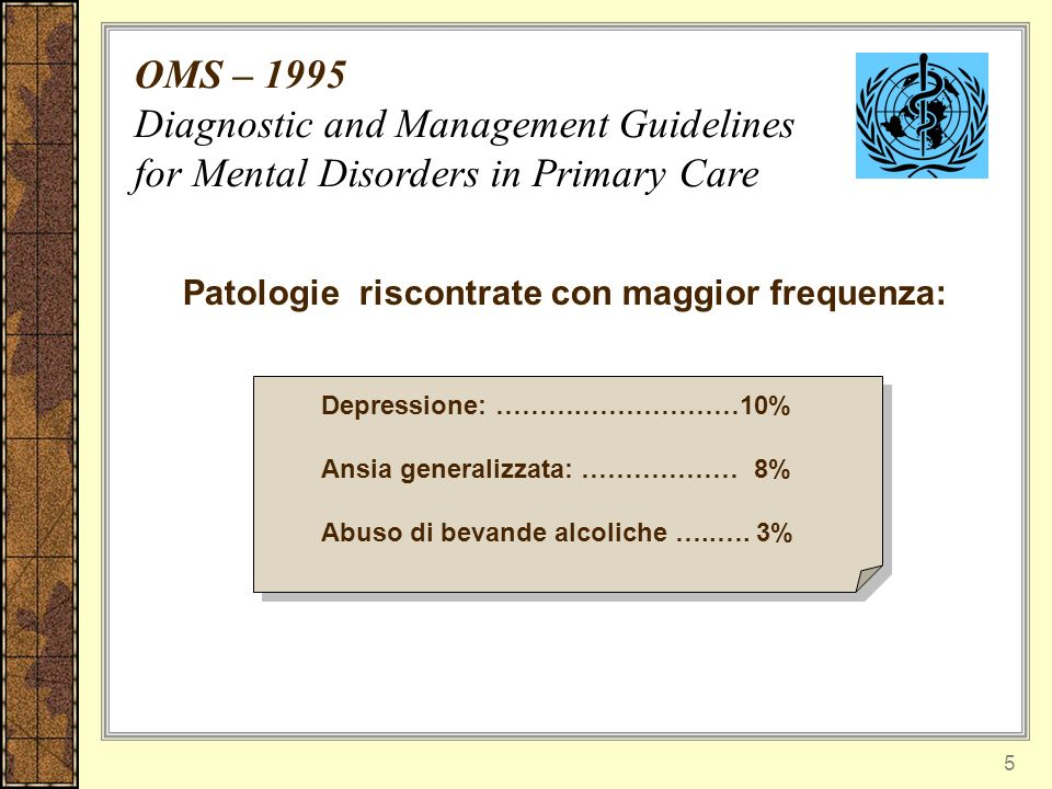 5 Patologie riscontrate con maggior frequenza: Depressione: ……….………………10% Ansia generalizzata: ……………… 8% Abuso di bevande alcoliche …..….