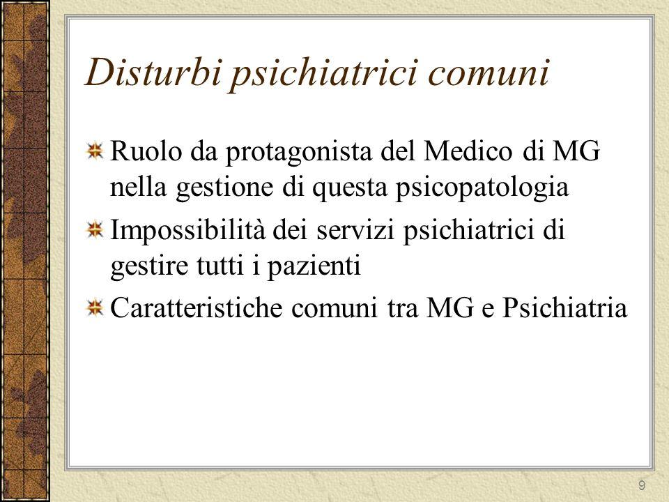 9 Disturbi psichiatrici comuni Ruolo da protagonista del Medico di MG nella gestione di questa psicopatologia Impossibilità dei servizi psichiatrici di gestire tutti i pazienti Caratteristiche comuni tra MG e Psichiatria