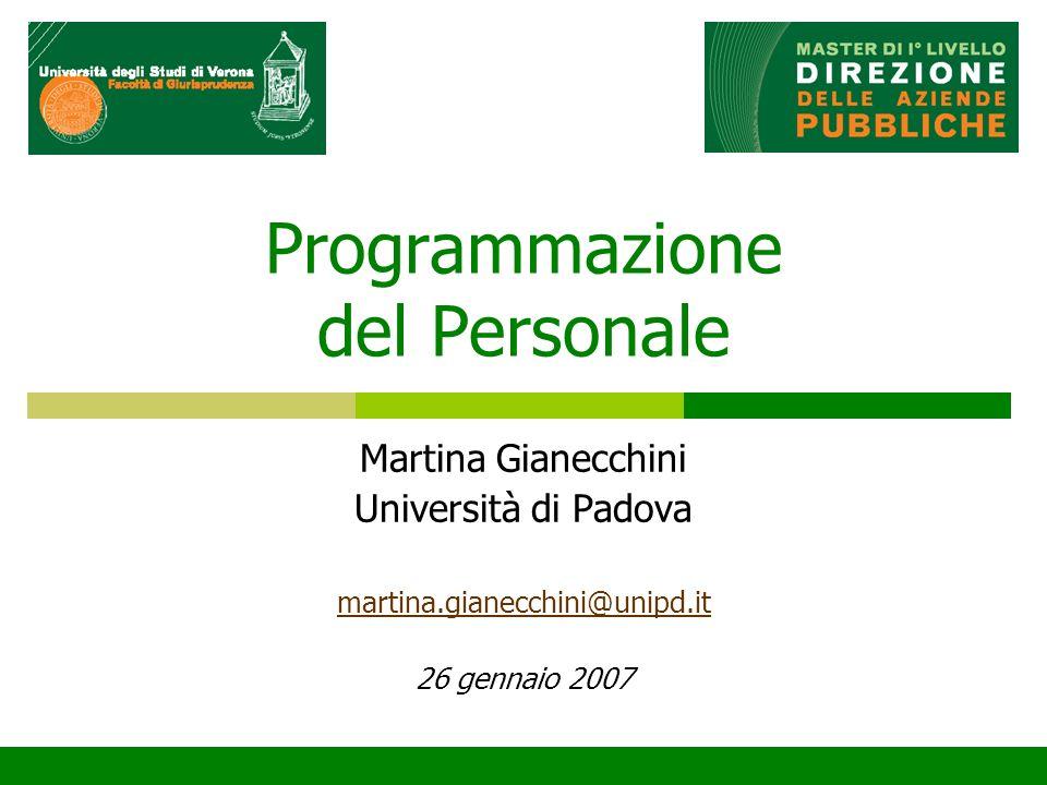 Programmazione del Personale Martina Gianecchini Università di Padova martina.gianecchini@unipd.it 26 gennaio 2007