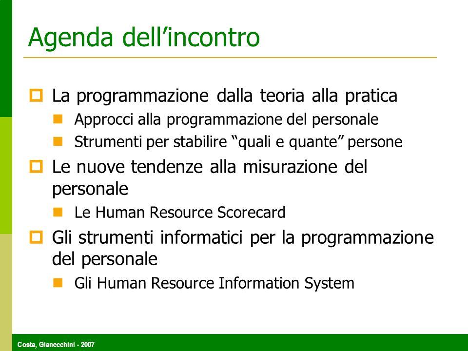 Costa, Gianecchini - 2007 Agenda dellincontro La programmazione dalla teoria alla pratica Approcci alla programmazione del personale Strumenti per sta