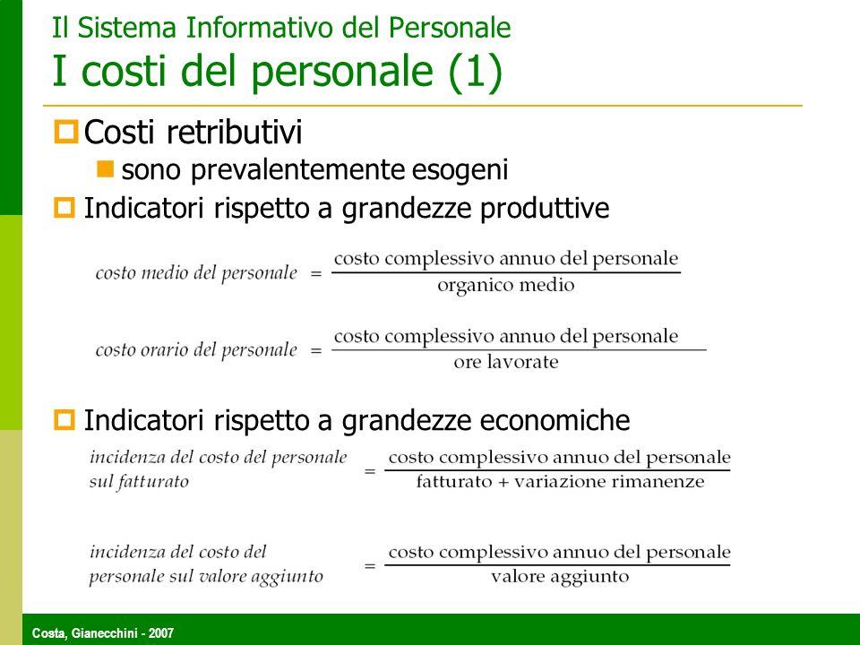 Costa, Gianecchini - 2007 Il Sistema Informativo del Personale I costi del personale (1) Costi retributivi sono prevalentemente esogeni Indicatori rispetto a grandezze produttive Indicatori rispetto a grandezze economiche