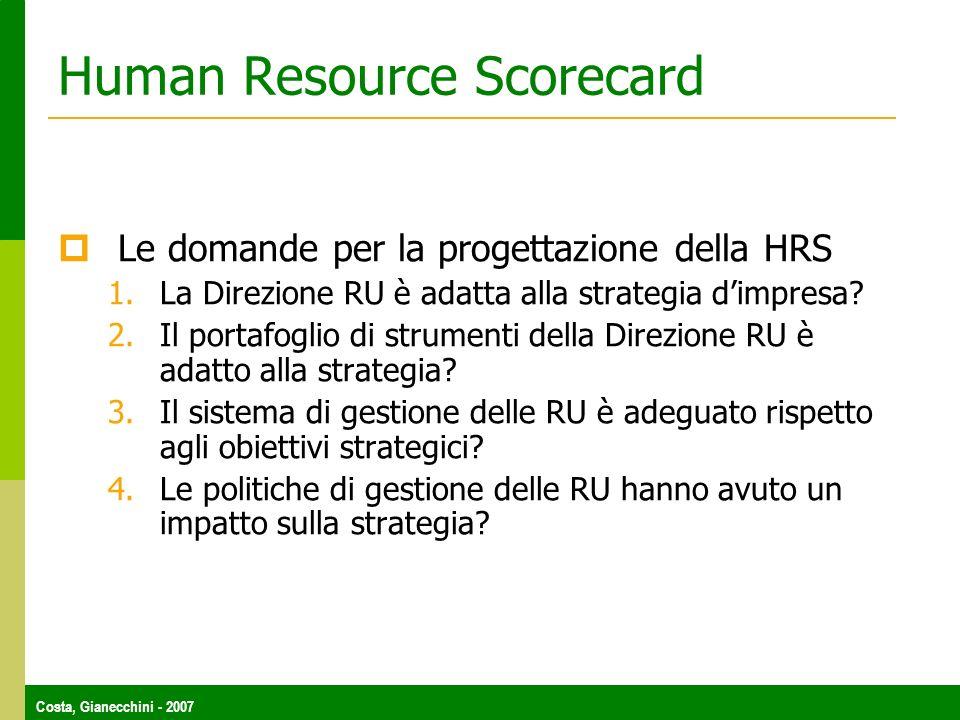 Costa, Gianecchini - 2007 Human Resource Scorecard Le domande per la progettazione della HRS 1.La Direzione RU è adatta alla strategia dimpresa? 2.Il