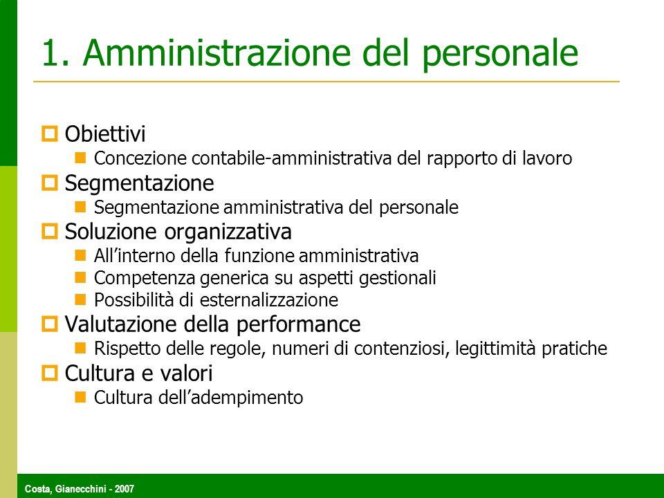 Costa, Gianecchini - 2007 1. Amministrazione del personale Obiettivi Concezione contabile-amministrativa del rapporto di lavoro Segmentazione Segmenta