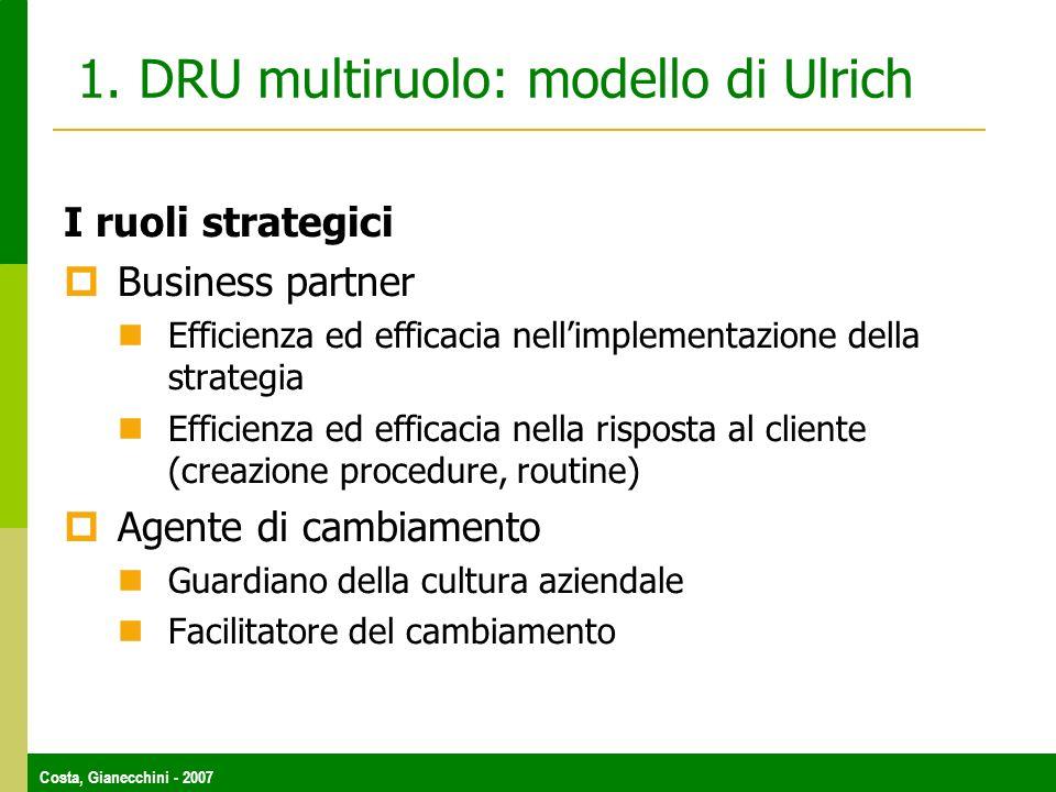 Costa, Gianecchini - 2007 1. DRU multiruolo: modello di Ulrich I ruoli strategici Business partner Efficienza ed efficacia nellimplementazione della s