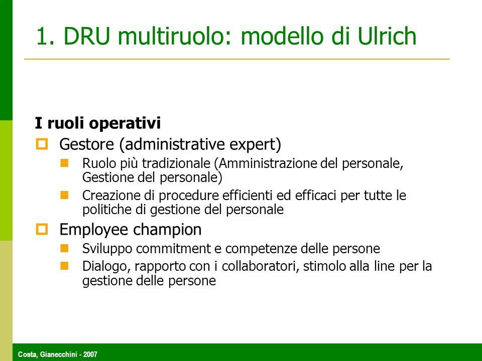 Costa, Gianecchini - 2007 1. DRU multiruolo: modello di Ulrich I ruoli operativi Gestore (administrative expert) Ruolo più tradizionale (Amministrazio