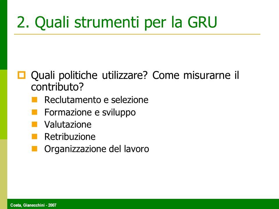 Costa, Gianecchini - 2007 2. Quali strumenti per la GRU Quali politiche utilizzare? Come misurarne il contributo? Reclutamento e selezione Formazione