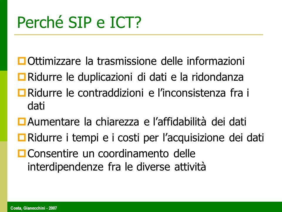 Costa, Gianecchini - 2007 Perché SIP e ICT? Ottimizzare la trasmissione delle informazioni Ridurre le duplicazioni di dati e la ridondanza Ridurre le