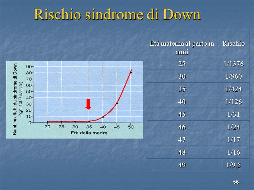 56 Età materna al parto in anni Rischio 251/1376 301/960 351/424 401/126 451/31 461/24 471/17 481/16 491/9,5 Rischio sindrome di Down