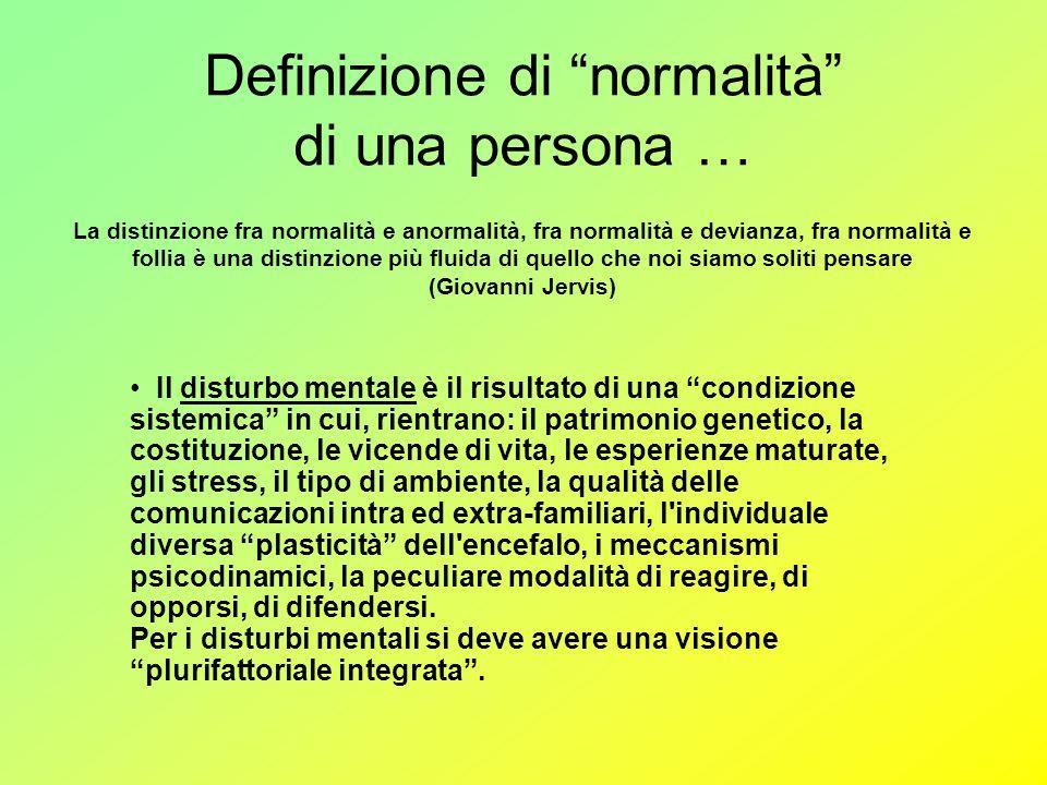 Definizione di normalità di una persona … La distinzione fra normalità e anormalità, fra normalità e devianza, fra normalità e follia è una distinzion