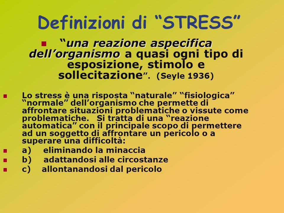 Definizioni di STRESS una reazione aspecifica dellorganismouna reazione aspecifica dellorganismo a quasi ogni tipo di esposizione, stimolo e sollecita