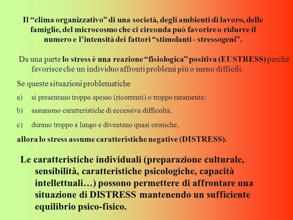 Da una parte lo stress è una reazione fisiologica positiva (EUSTRESS) perché favorisce che un individuo affronti problemi più o meno difficili. Se que