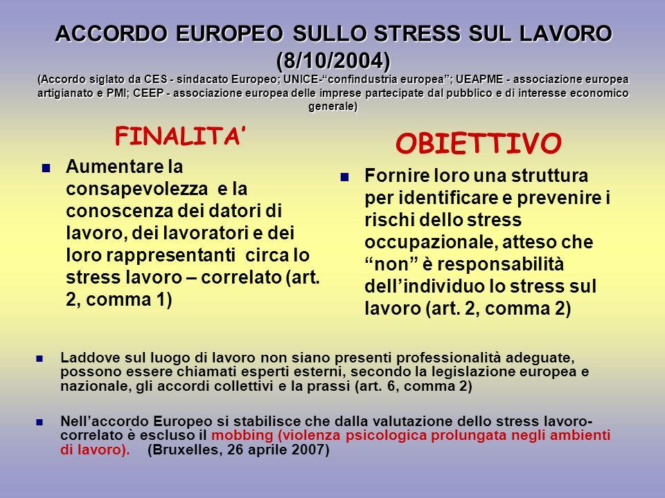 ACCORDO EUROPEO SULLO STRESS SUL LAVORO (8/10/2004) (Accordo siglato da CES - sindacato Europeo; UNICE-confindustria europea; UEAPME - associazione eu