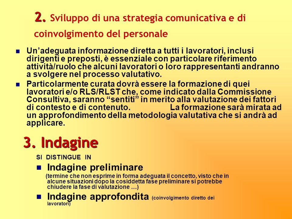 2. 2. Sviluppo di una strategia comunicativa e di coinvolgimento del personale Unadeguata informazione diretta a tutti i lavoratori, inclusi dirigenti