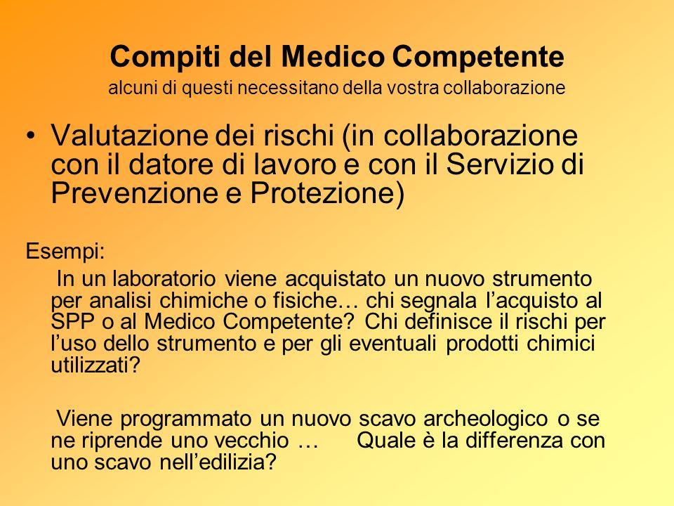 Compiti del Medico Competente alcuni di questi necessitano della vostra collaborazione Valutazione dei rischi (in collaborazione con il datore di lavo