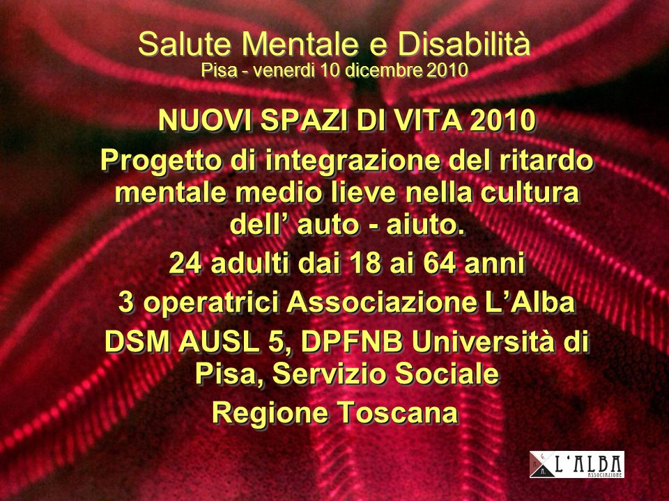 Salute Mentale e Disabilità Pisa - venerdi 10 dicembre 2010 NUOVI SPAZI DI VITA 2010 NUOVI SPAZI DI VITA 2010 Progetto di integrazione del ritardo mentale medio lieve nella cultura dell auto - aiuto.