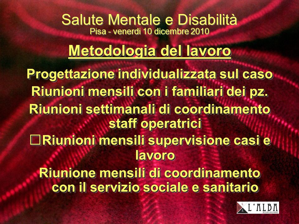 Salute Mentale e Disabilità Pisa - venerdi 10 dicembre 2010 Metodologia del lavoro Progettazione individualizzata sul caso Riunioni mensili con i familiari dei pz.