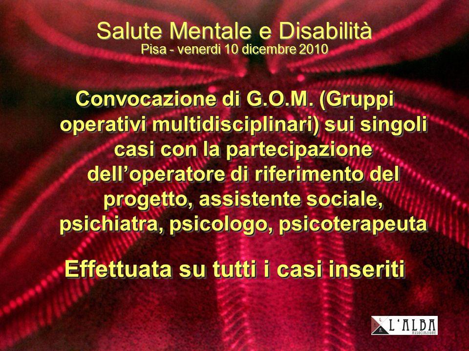 Salute Mentale e Disabilità Pisa - venerdi 10 dicembre 2010 Convocazione di G.O.M.