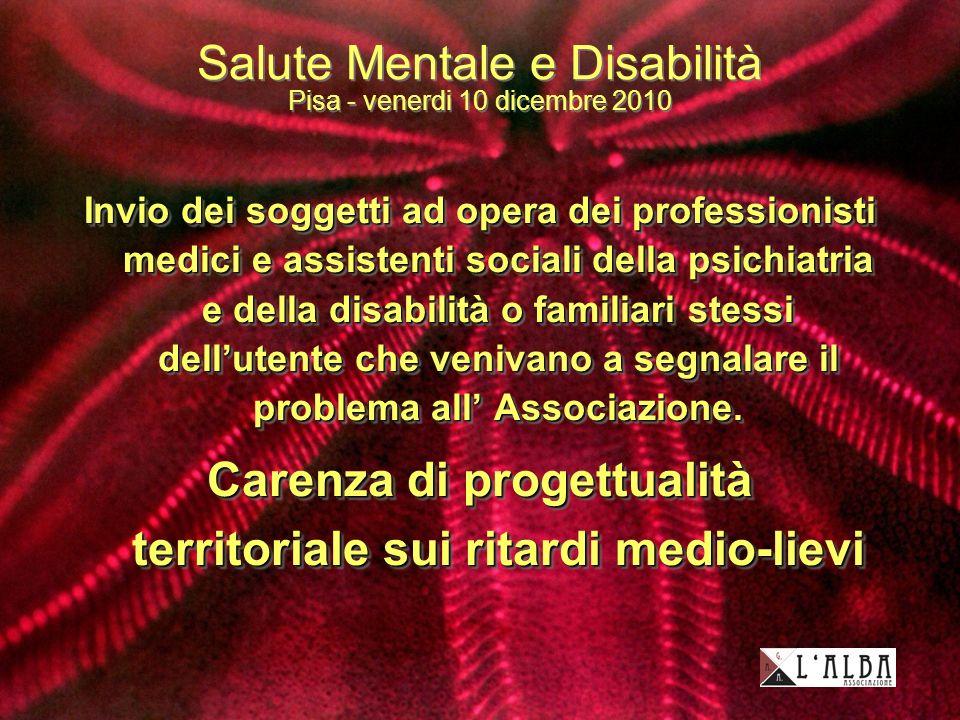 Salute Mentale e Disabilità Pisa - venerdi 10 dicembre 2010 Invio dei soggetti ad opera dei professionisti medici e assistenti sociali della psichiatria e della disabilità o familiari stessi dellutente che venivano a segnalare il problema all Associazione.