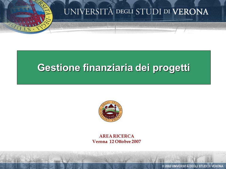 Gestione finanziaria dei progetti AREA RICERCA Verona 12 Ottobre 2007