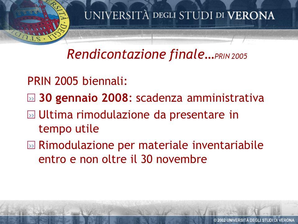 Rendicontazione finale… PRIN 2005 PRIN 2005 biennali: 30 gennaio 2008: scadenza amministrativa Ultima rimodulazione da presentare in tempo utile Rimodulazione per materiale inventariabile entro e non oltre il 30 novembre
