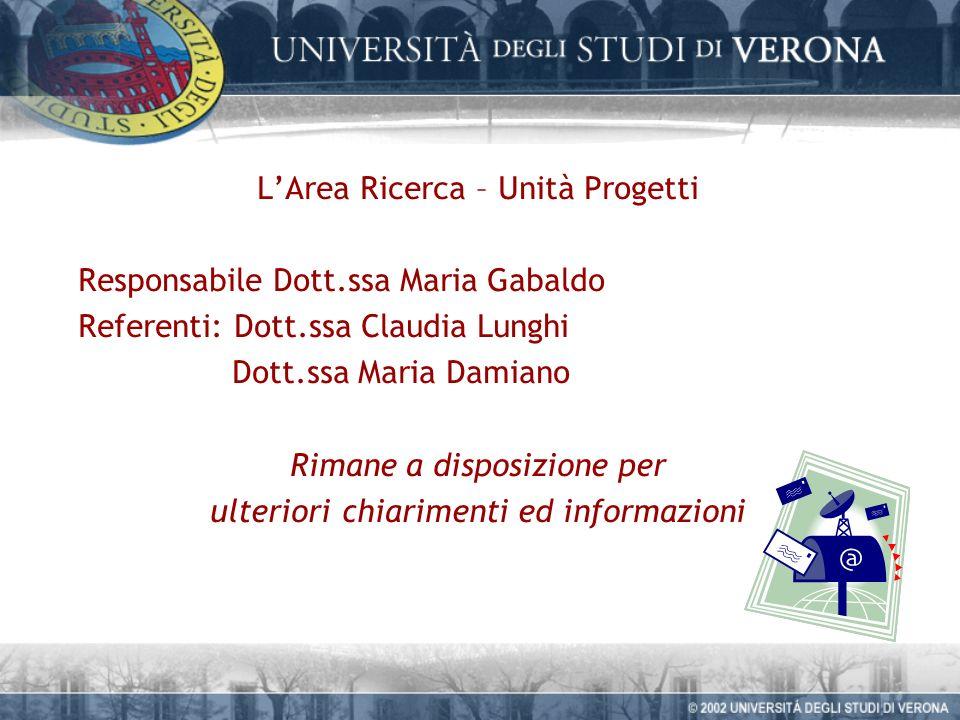 LArea Ricerca – Unità Progetti Responsabile Dott.ssa Maria Gabaldo Referenti: Dott.ssa Claudia Lunghi Dott.ssa Maria Damiano Rimane a disposizione per ulteriori chiarimenti ed informazioni