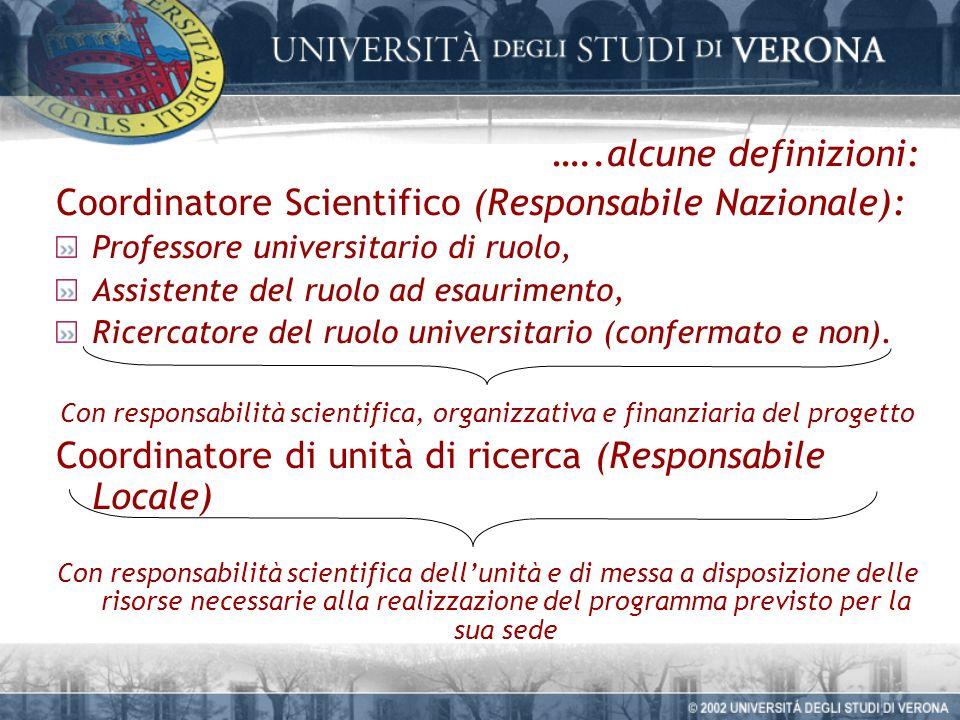 …..alcune definizioni: Coordinatore Scientifico (Responsabile Nazionale): Professore universitario di ruolo, Assistente del ruolo ad esaurimento, Ricercatore del ruolo universitario (confermato e non).
