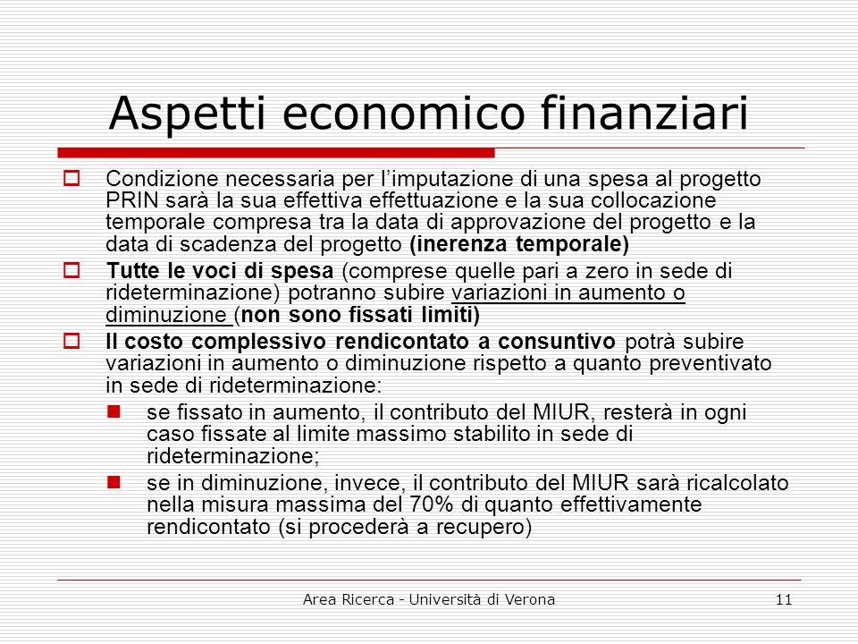 Area Ricerca - Università di Verona11 Aspetti economico finanziari Condizione necessaria per limputazione di una spesa al progetto PRIN sarà la sua ef