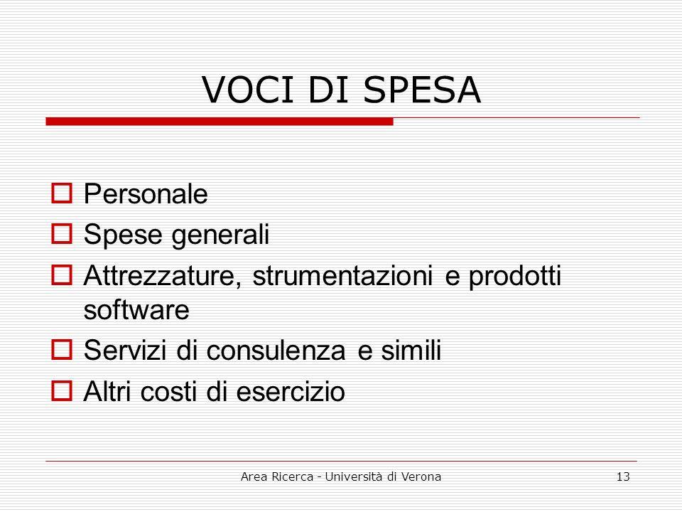 Area Ricerca - Università di Verona13 VOCI DI SPESA Personale Spese generali Attrezzature, strumentazioni e prodotti software Servizi di consulenza e simili Altri costi di esercizio