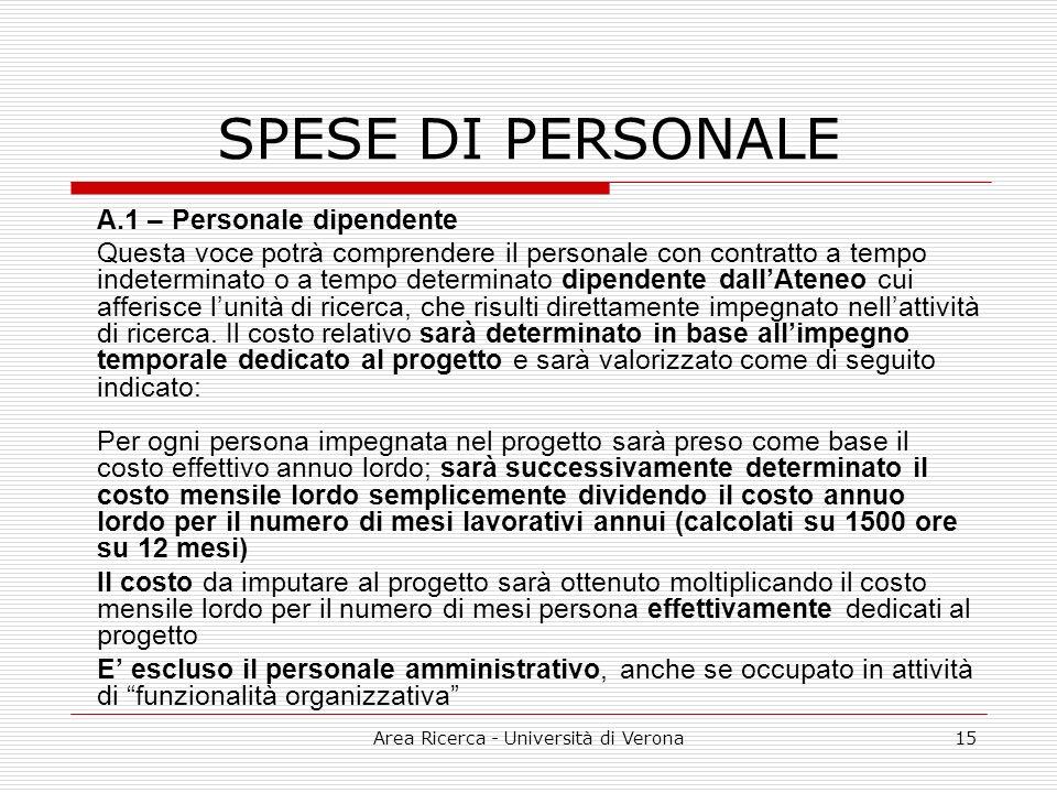 Area Ricerca - Università di Verona15 SPESE DI PERSONALE A.1 – Personale dipendente Questa voce potrà comprendere il personale con contratto a tempo indeterminato o a tempo determinato dipendente dallAteneo cui afferisce lunità di ricerca, che risulti direttamente impegnato nellattività di ricerca.