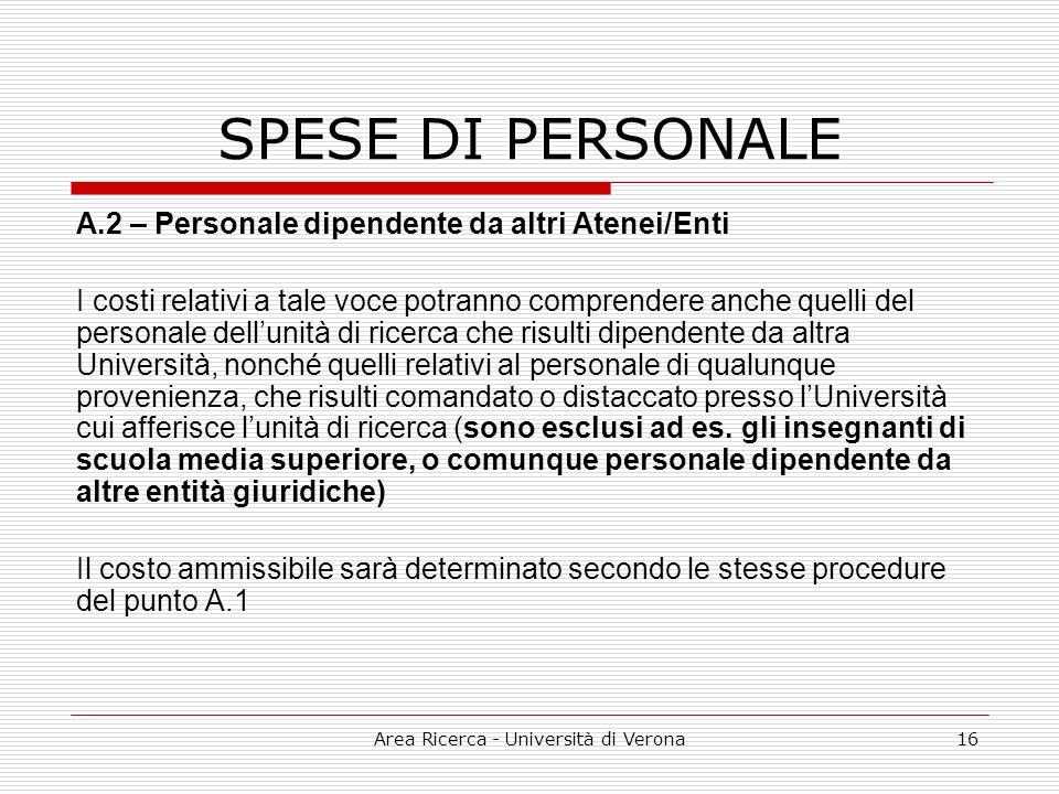 Area Ricerca - Università di Verona16 SPESE DI PERSONALE A.2 – Personale dipendente da altri Atenei/Enti I costi relativi a tale voce potranno compren