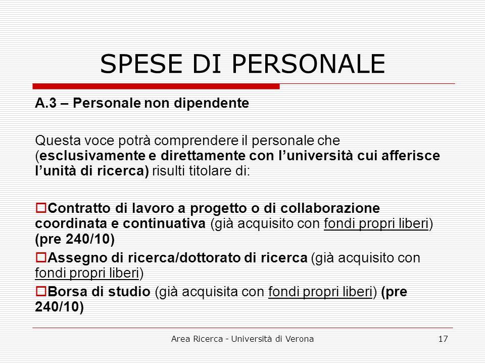 Area Ricerca - Università di Verona17 SPESE DI PERSONALE A.3 – Personale non dipendente Questa voce potrà comprendere il personale che (esclusivamente