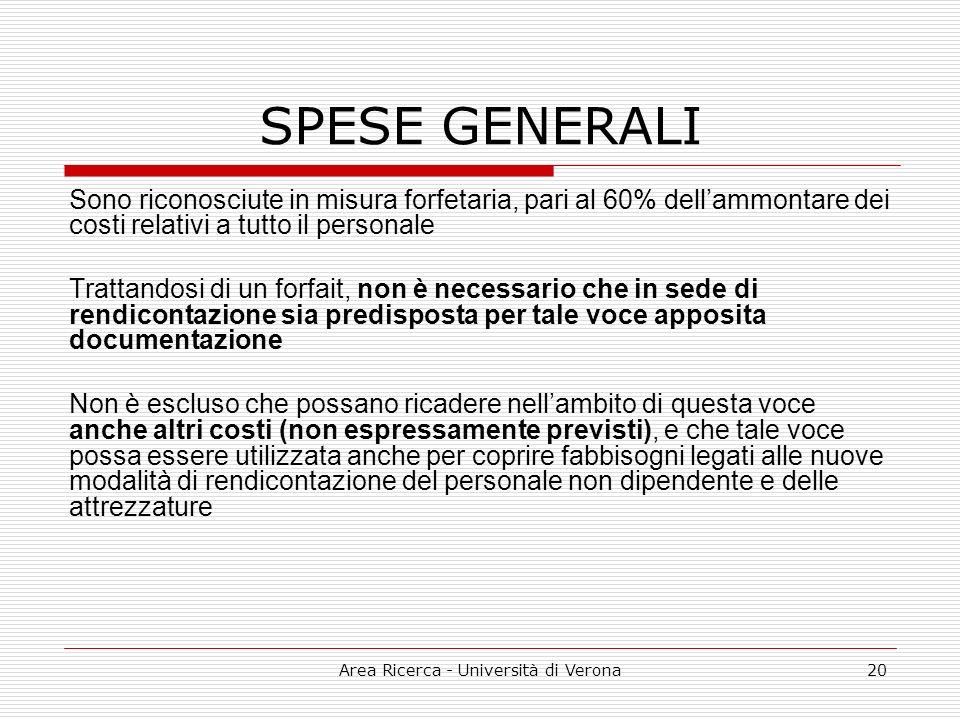 Area Ricerca - Università di Verona20 SPESE GENERALI Sono riconosciute in misura forfetaria, pari al 60% dellammontare dei costi relativi a tutto il p