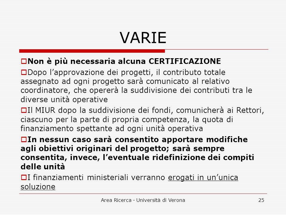 Area Ricerca - Università di Verona25 VARIE Non è più necessaria alcuna CERTIFICAZIONE Dopo lapprovazione dei progetti, il contributo totale assegnato