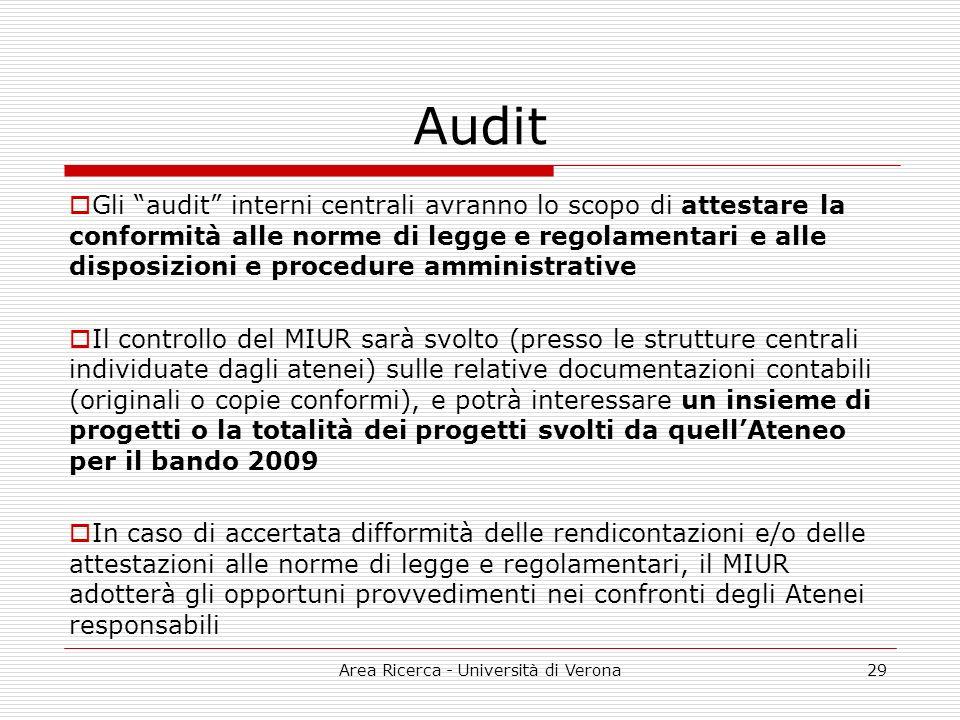 Area Ricerca - Università di Verona29 Audit Gli audit interni centrali avranno lo scopo di attestare la conformità alle norme di legge e regolamentari