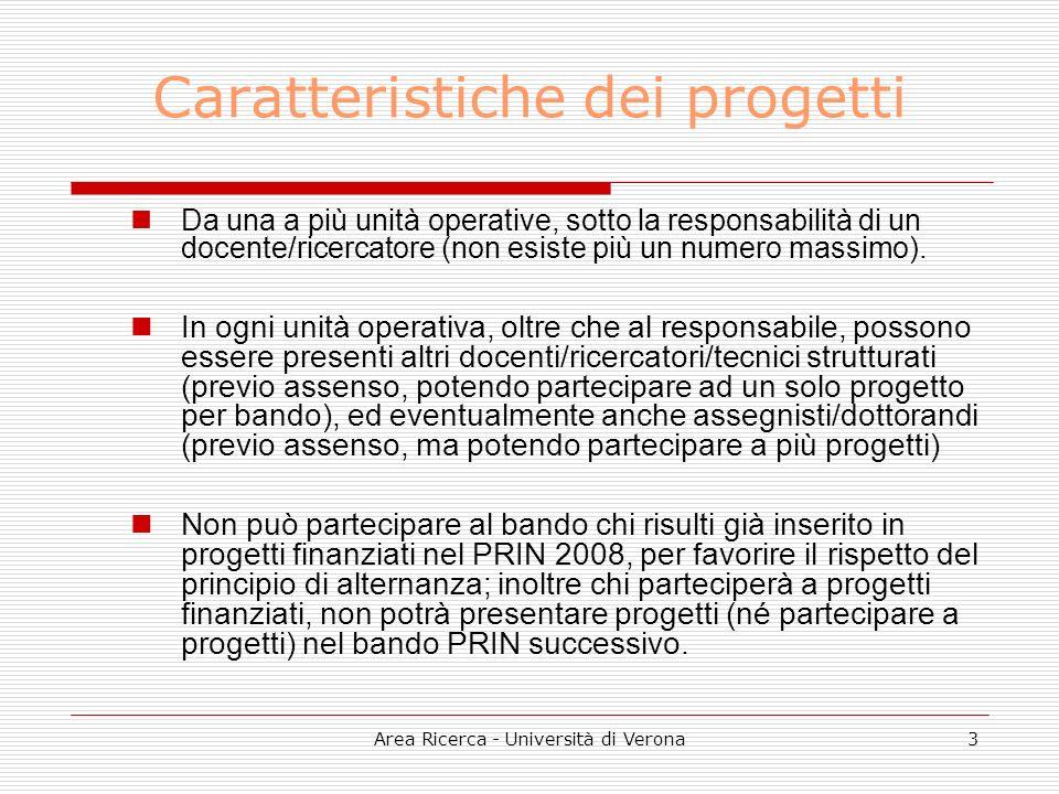 Area Ricerca - Università di Verona3 Caratteristiche dei progetti Da una a più unità operative, sotto la responsabilità di un docente/ricercatore (non esiste più un numero massimo).