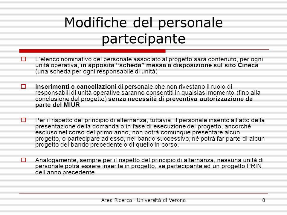 Area Ricerca - Università di Verona8 Modifiche del personale partecipante Lelenco nominativo del personale associato al progetto sarà contenuto, per o