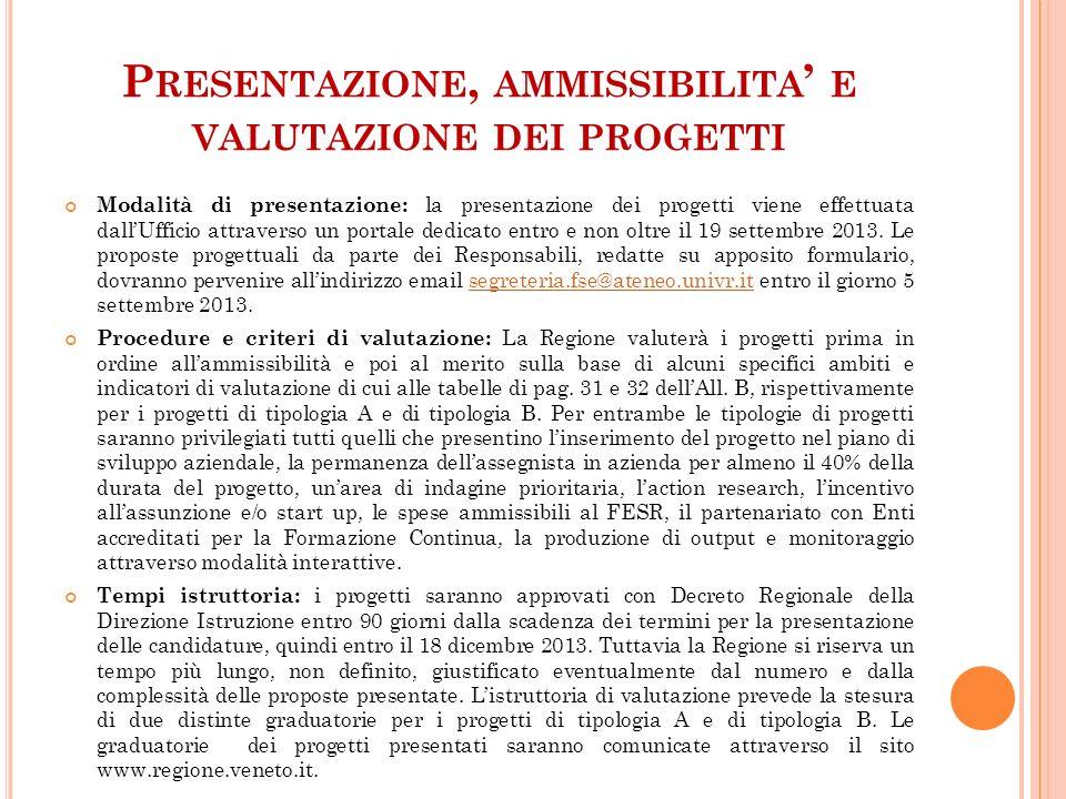 P RESENTAZIONE, AMMISSIBILITA E VALUTAZIONE DEI PROGETTI Modalità di presentazione: la presentazione dei progetti viene effettuata dallUfficio attrave