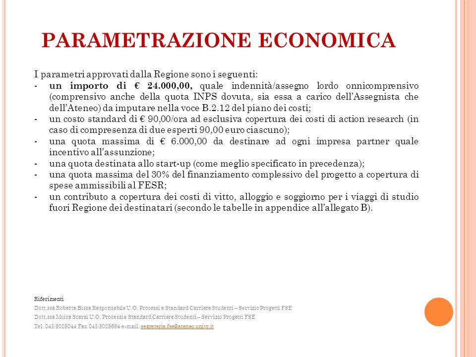 PARAMETRAZIONE ECONOMICA I parametri approvati dalla Regione sono i seguenti: - un importo di 24.000,00, quale indennità/assegno lordo onnicomprensivo