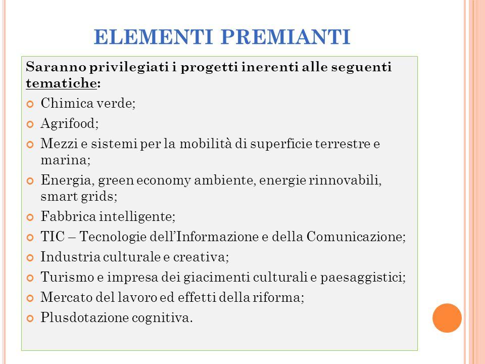 ELEMENTI PREMIANTI Saranno privilegiati i progetti inerenti alle seguenti tematiche: Chimica verde; Agrifood; Mezzi e sistemi per la mobilità di super