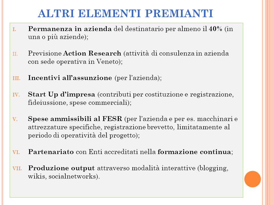 I. Permanenza in azienda del destinatario per almeno il 40% (in una o più aziende); II. Previsione Action Research (attività di consulenza in azienda