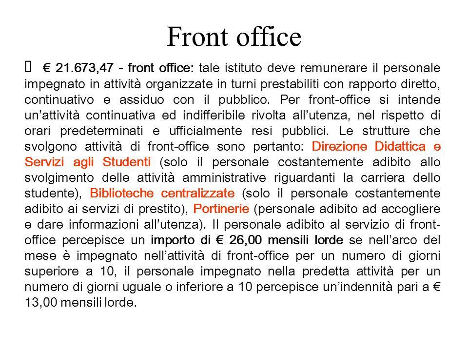 Front office 21.673,47 - front office: tale istituto deve remunerare il personale impegnato in attività organizzate in turni prestabiliti con rapporto diretto, continuativo e assiduo con il pubblico.