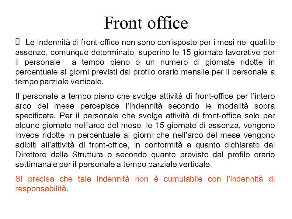 Front office Le indennità di front-office non sono corrisposte per i mesi nei quali le assenze, comunque determinate, superino le 15 giornate lavorati