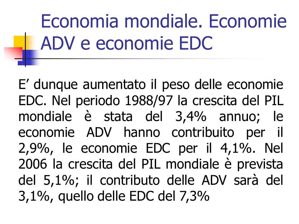 Economia mondiale. Economie ADV e economie EDC E dunque aumentato il peso delle economie EDC.