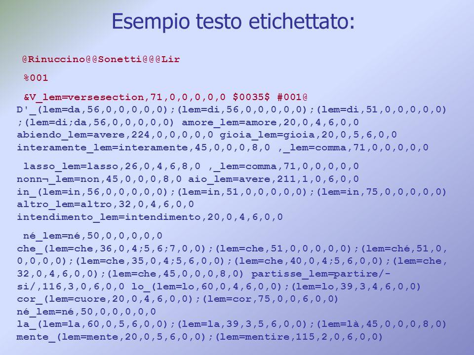 Esempio testo etichettato: @Rinuccino@@Sonetti@@@Lir %001 &V_lem=versesection,71,0,0,0,0,0 $0035$ #001@ D'_(lem=da,56,0,0,0,0,0);(lem=di,56,0,0,0,0,0)