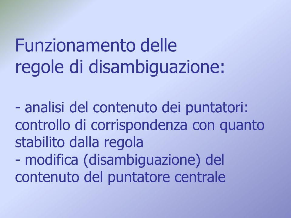 Funzionamento delle regole di disambiguazione: - analisi del contenuto dei puntatori: controllo di corrispondenza con quanto stabilito dalla regola -