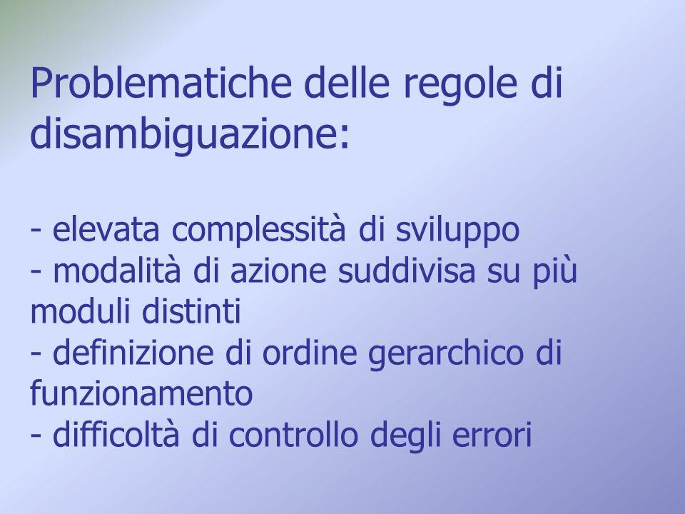 Problematiche delle regole di disambiguazione: - elevata complessità di sviluppo - modalità di azione suddivisa su più moduli distinti - definizione di ordine gerarchico di funzionamento - difficoltà di controllo degli errori